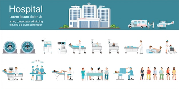 Modern hospital building and healthcare infographics. Premium Vector