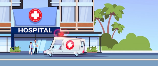 Modern hospital building with team of doctors Premium Vector