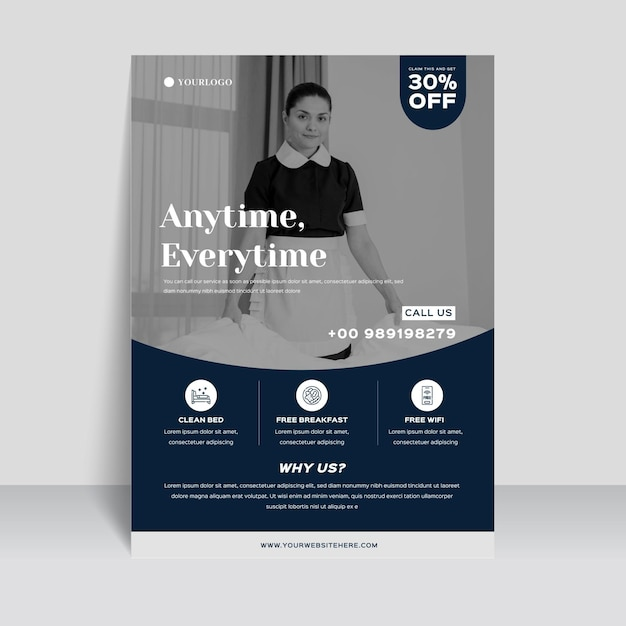 Modern hotel information flyer template with photo Free Vector