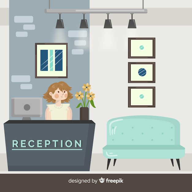 Modern hotel reception composition Free Vector