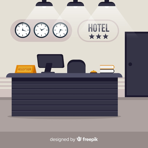 Modern hotel reception with flat design Free Vector
