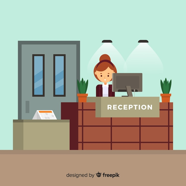 Modern hotel reception with flat design Vector | Free Download