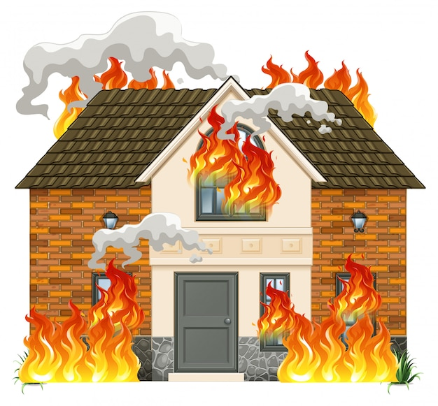 A modern house on fire Free Vector