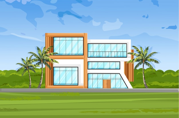 Modern house front view Premium Vector