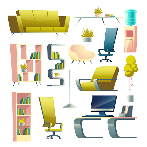 Modern house futuristic furniture, apartment living room interior elements cartoon Free Vector