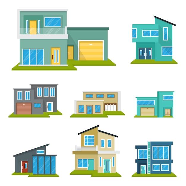 Modern house home real estate set Premium Vector