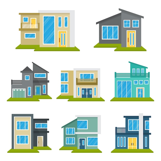 Modern house home real estate set Premium Vector