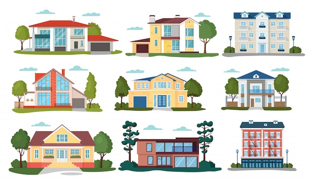 Premium Vector Modern House Illustrations Cartoon Flat Home Apartment Facade Exterior Of Residential Building Set Icons Isolated On White