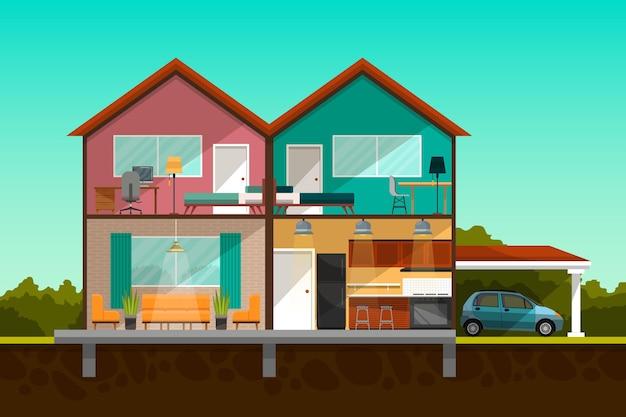 단면의 현대 집 무료 벡터