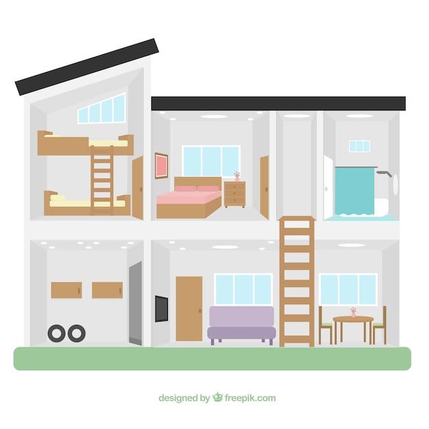 Modern house interior in flat design