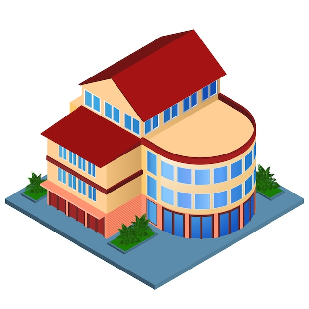 Modern house, isometric style