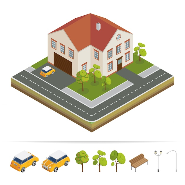 Modern house. modern home. isometric concept. real estate. cottage. isometric house. computer icon. modern scandinavian style Premium Vector