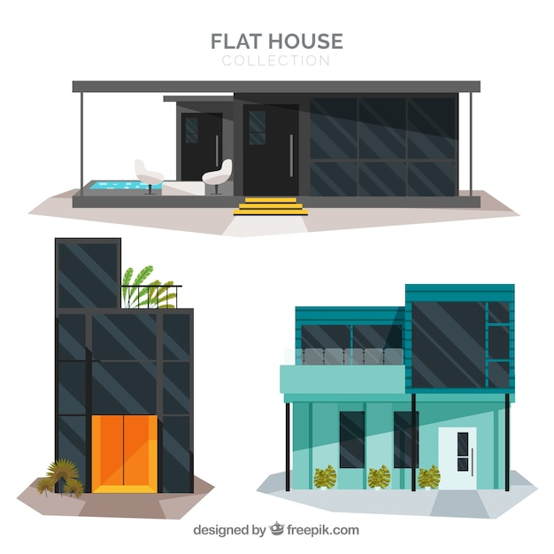 Modern house pack Free Vector