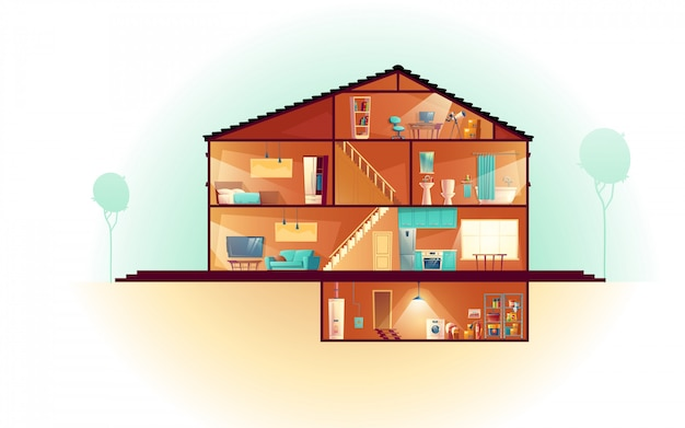 モダンな家、3階建てのコテージ断面インテリア漫画、地下室 無料ベクター