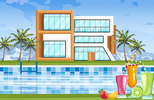 Modern house with swimming pool Premium Vector