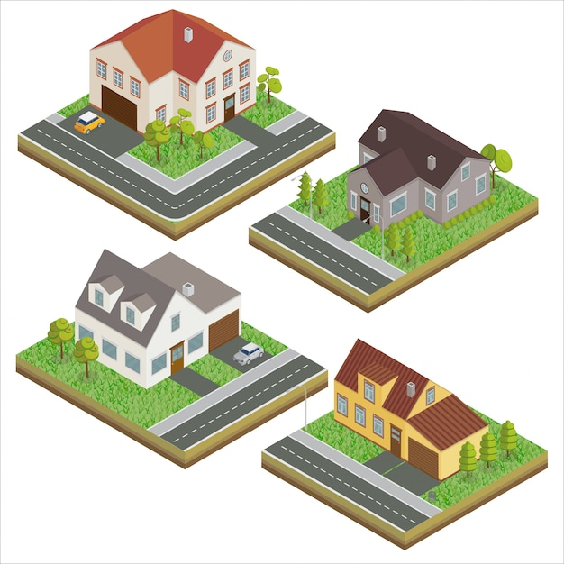 Modern houses. modern home. isometric concept. real estate. cottage. isometric house. computer icon. modern scandinavian style Premium Vector