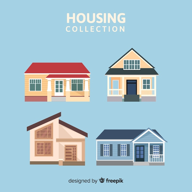 Modern housing collection with flat design Free Vector