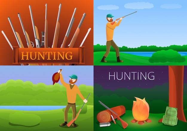 Modern hunting equipment illustration set on cartoon style Premium Vector
