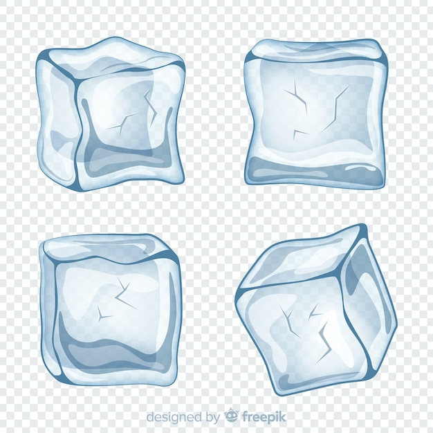 Modern ice cube collection Free Vector