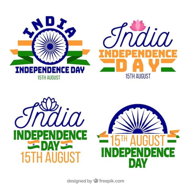 Modern india independence day labels