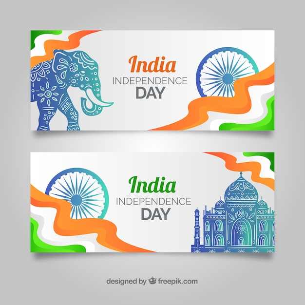 Modern Indian Independence Day Banners Vector Free Download