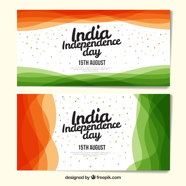 Modern indian independence day banners Free Vector