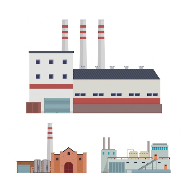 Modern Industrial Factory and Warehouse Logistic Building Illustration Set Free Vector