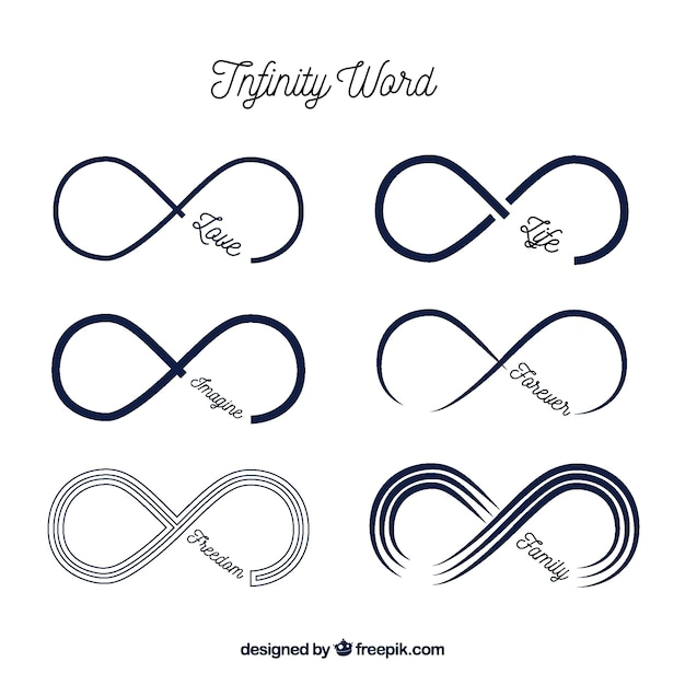 Modern Infinite Symbol With Word Collection Vector Free Download