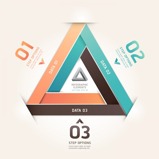 Modern infinite triangle origami style number options. workflow layout, diagram, step options, web design, infographics. Premium Vector
