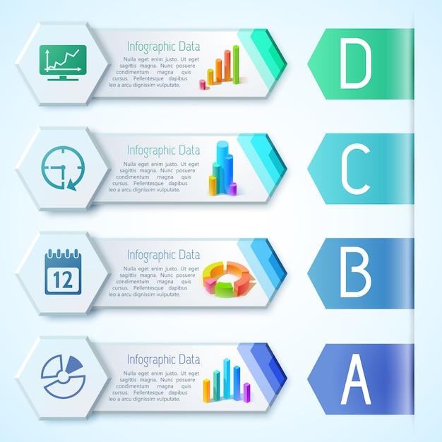 テキスト図グラフグラフと六角形の図のアイコンとモダンなインフォグラフィックビジネス水平バナー Premiumベクター