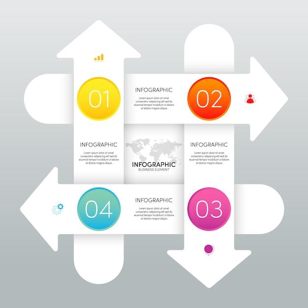 Современный инфографический бизнес шаблон и визуализация данных с 4 вариантами. Premium векторы