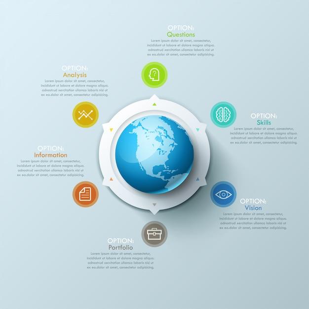 Современное инфографическое расположение дизайна с планетой земля в центре и стрелами, указывающими на пиктограммы и текстовые поля. Premium векторы