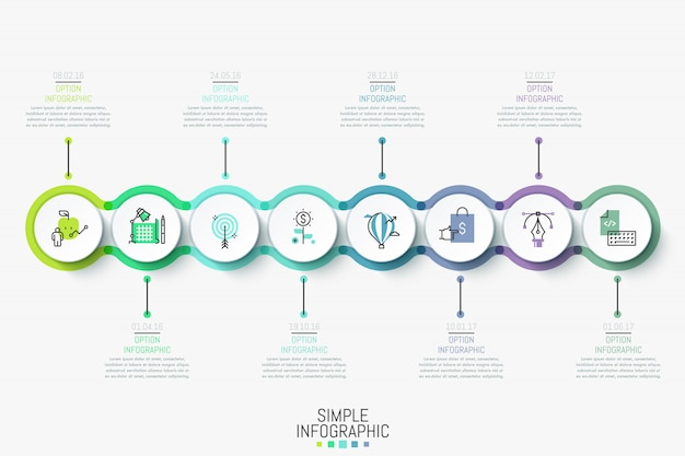 Modern infographic design template. colorful horizontal timeline with 8 round elements, icons and text boxes. Premium Vector