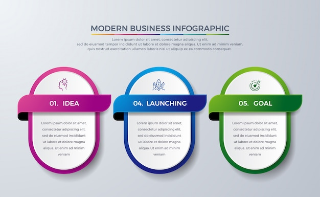 Modern infographic design with 3 process or steps. Premium Vector