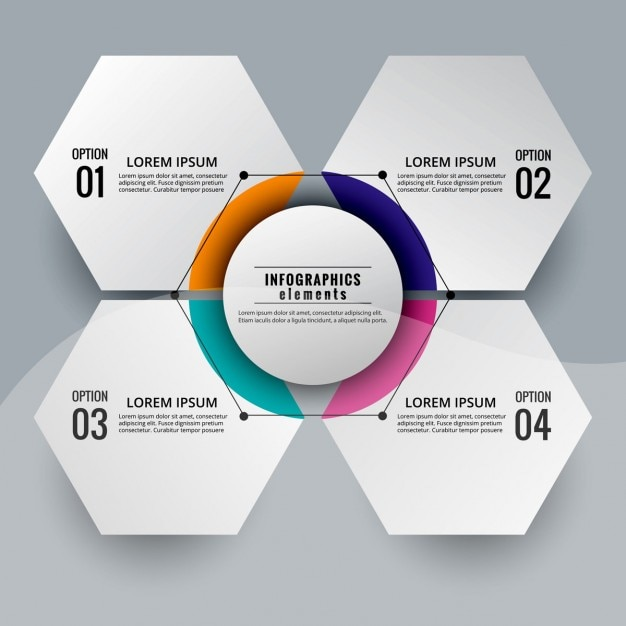 Modern Infographic Diagram Hexagonal Shaped Vector Free Download
