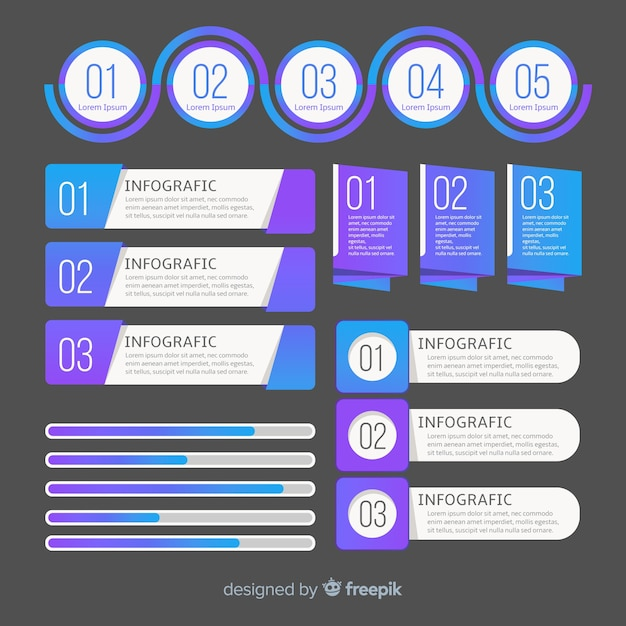 Modern infographic element collection with gradient style Free Vector