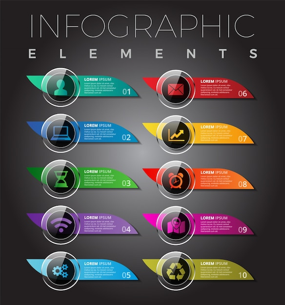 Modern Infographic Elements / Mobile Buttons Template Design Premium Vector