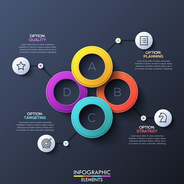 Modern infographic layout with lettered overlapping rings Premium Vector