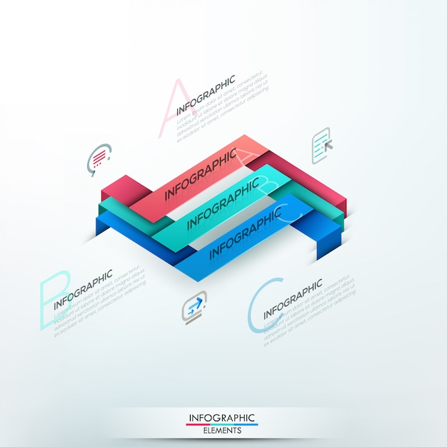 Modern infographic option banner with 3 paper ribbons Premium Vector