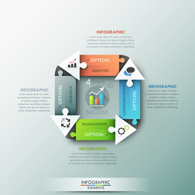 Modern infographic options banner with arrows Premium Vector