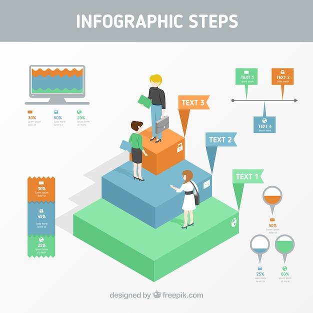 Modern infographic steps design Free Vector
