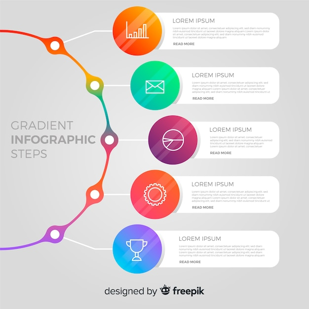 Modern infographic steps design Free Vector