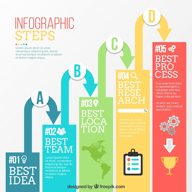 Modern infographic steps with arrows Free Vector