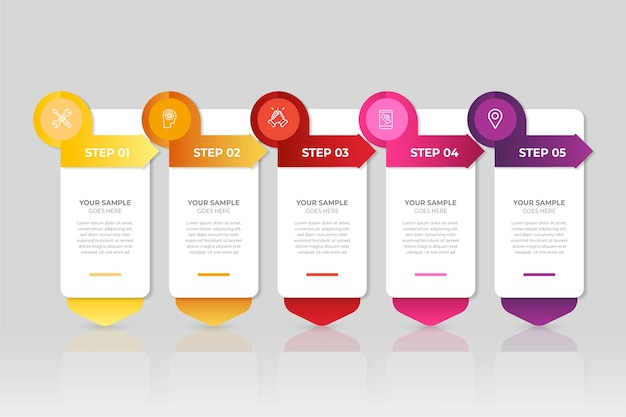 Modern infographic steps Free Vector