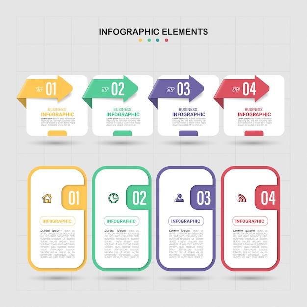 Современный инфографический шаблон 4 варианта. Premium векторы