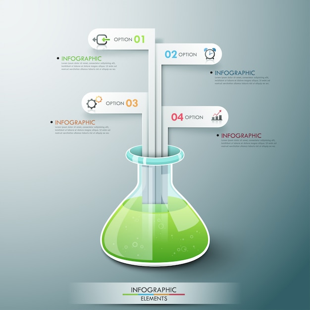 Modern infographic template with chemistry flask Premium Vector