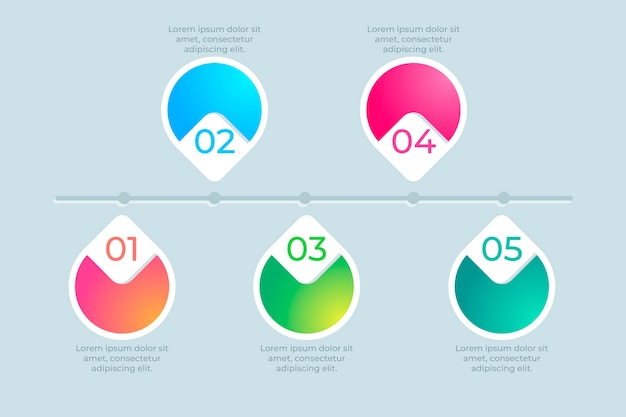 Modern infographic timeline in gradient Free Vector