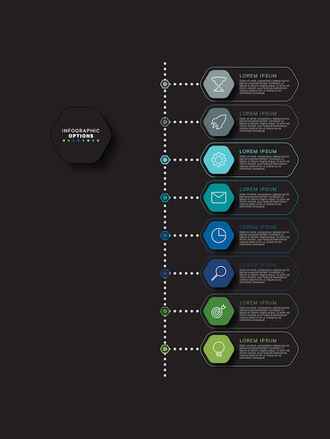 Modern infographic timeline template with relistic hexagonal elements in flat colors on a black background. business process diagram with marketing icons and textboxes. Premium Vector