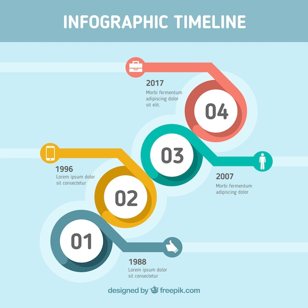 Modern infographic timeline with circles