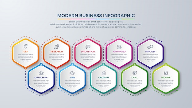 Modern infographic with 10 steps Premium Vector